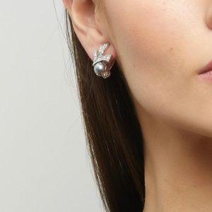 Nina Ricci Crystal and Faux Pear Art Deco Clips